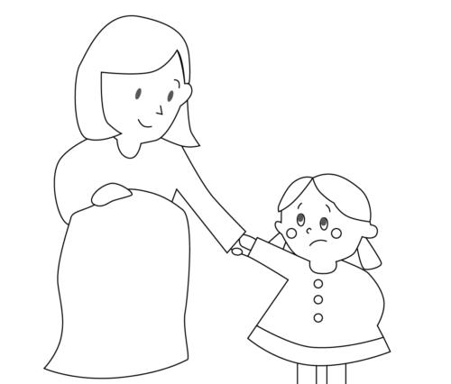 手を繋ぐ 親子 イラスト 白黒 モノクロ