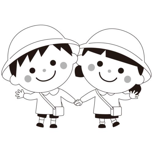 手を繋ぐ 子供 イラスト 白黒 モノクロ