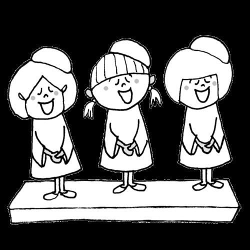聖歌隊 女の子 イラスト 白黒 モノクロ