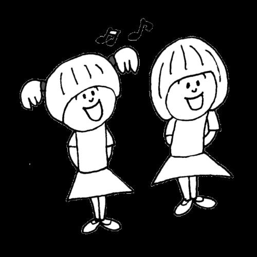 歌う 子供 イラスト 白黒 モノクロ