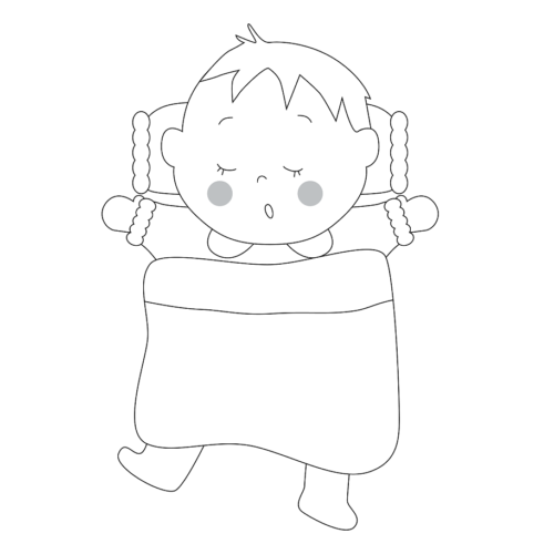 布団 寝る 幼児 イラスト 白黒 モノクロ