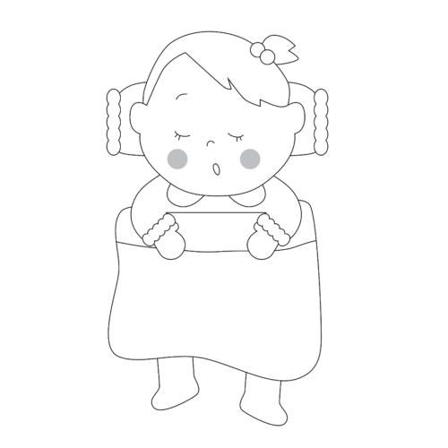 お昼寝 イラスト 子供 かわいい 白黒 モノクロ