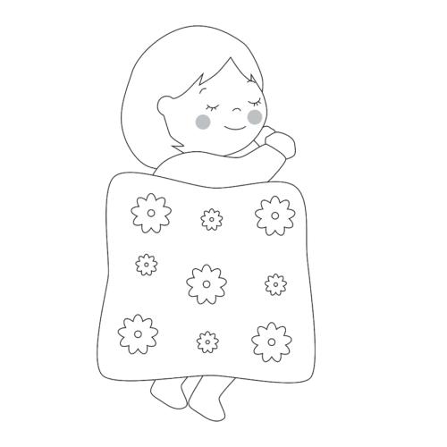 布団 眠る イラスト 子供 かわいい 白黒 モノクロ
