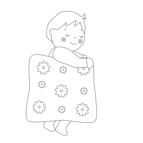 夜 寝る イラスト 子供 白黒 モノクロ