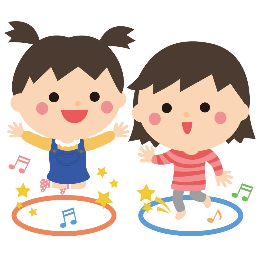 ジャンプして遊ぶ子供のかわいいイラスト画像素材(無料、フリー)