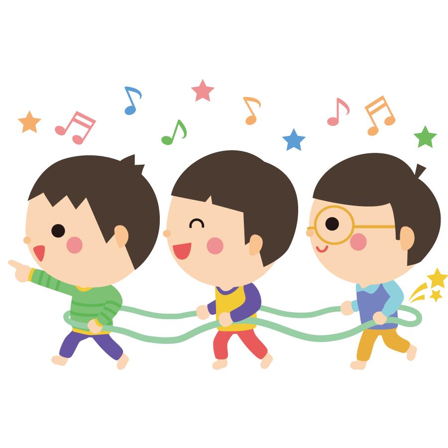 保育園で友達と遊ぶ子供のかわいいイラスト画像素材(無料、フリー)