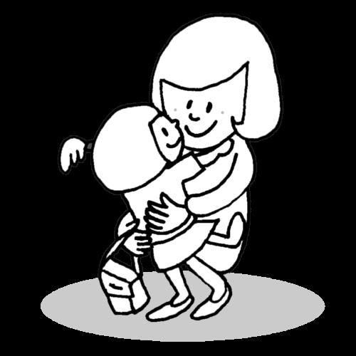 幼稚園 お迎え イラスト 白黒 モノクロ