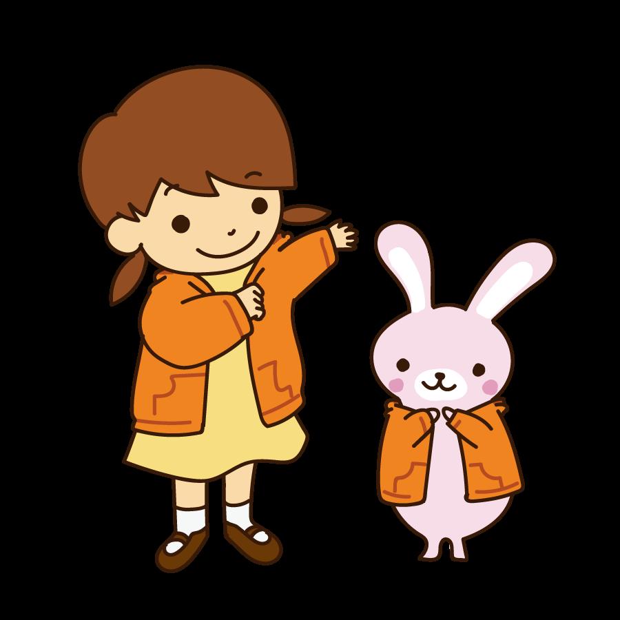 上着を着る幼児のかわいいイラスト画像素材(フリー 無料)