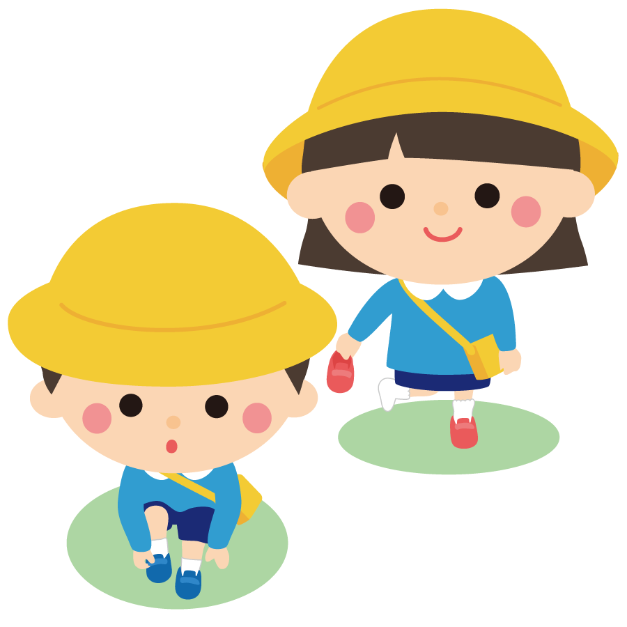保育園で靴を履く子供のかわいいイラスト画像素材(無料 フリー)