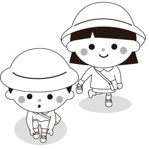 靴 履く 子供 イラスト 白黒 モノクロ