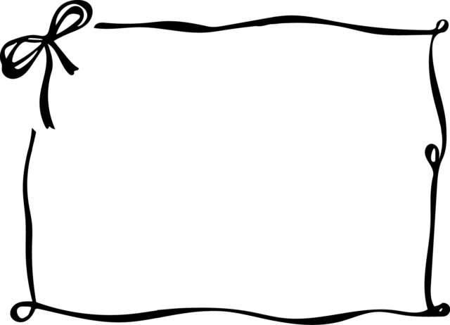 リボン フレーム 枠 イラスト 白黒 モノクロ
