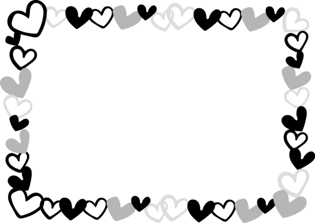 ハート フレーム 枠 イラスト 白黒 モノクロ