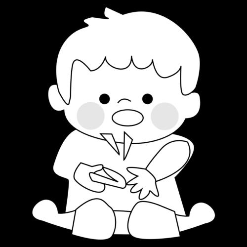 爪切り イラスト 子供 白黒 モノクロ