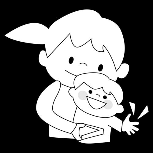 母親 爪切り イラスト 赤ちゃん 白黒 モノクロ