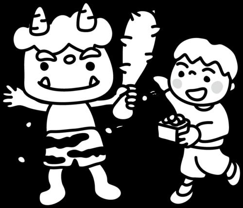 幼稚園 豆まき イラスト 白黒 モノクロ