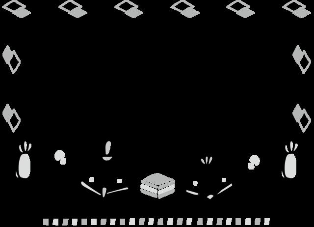 お雛様 フレーム 枠 イラスト 白黒 モノクロ