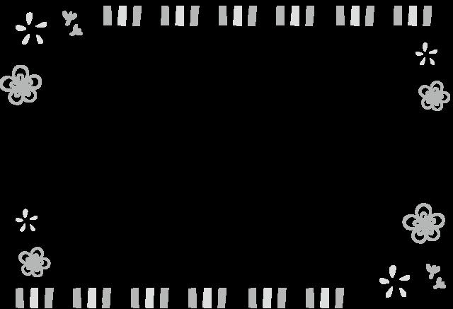 梅 フレーム 枠 イラスト 白黒 モノクロ