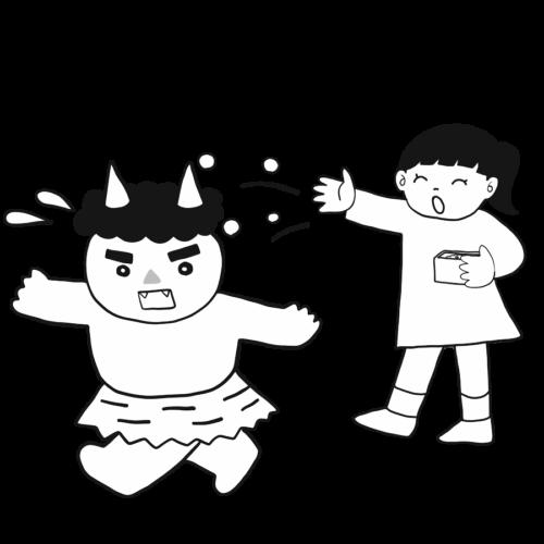 鬼 豆まき イラスト フリー 無料 白黒 モノクロ