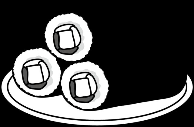 節分 恵方巻き イラスト フリー 無料 白黒 モノクロ