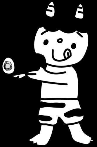 恵方巻き 鬼 イラスト フリー 無料 白黒 モノクロ