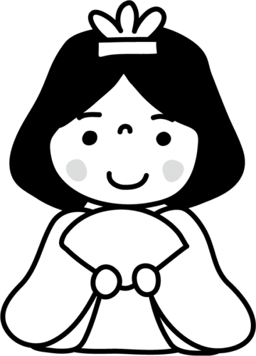 雛祭り おひなさま かわいい イラスト フリー 無料 白黒 モノクロ