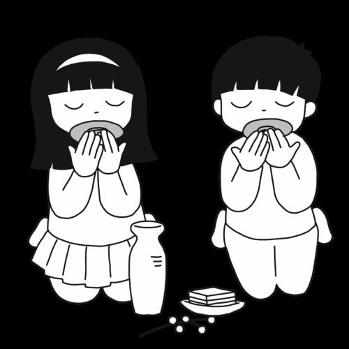 甘酒 子供 イラスト フリー 無料 白黒 モノクロ