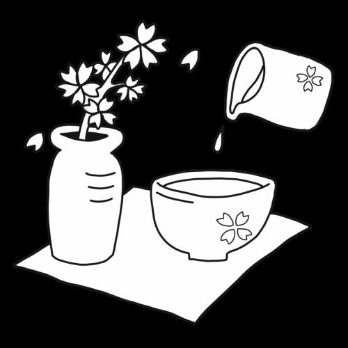 ひな祭り 甘酒 イラスト フリー 無料 白黒 モノクロ