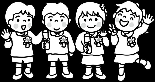 卒園式 入園式 園児 かわいい イラスト 無料 フリー 白黒 モノクロ