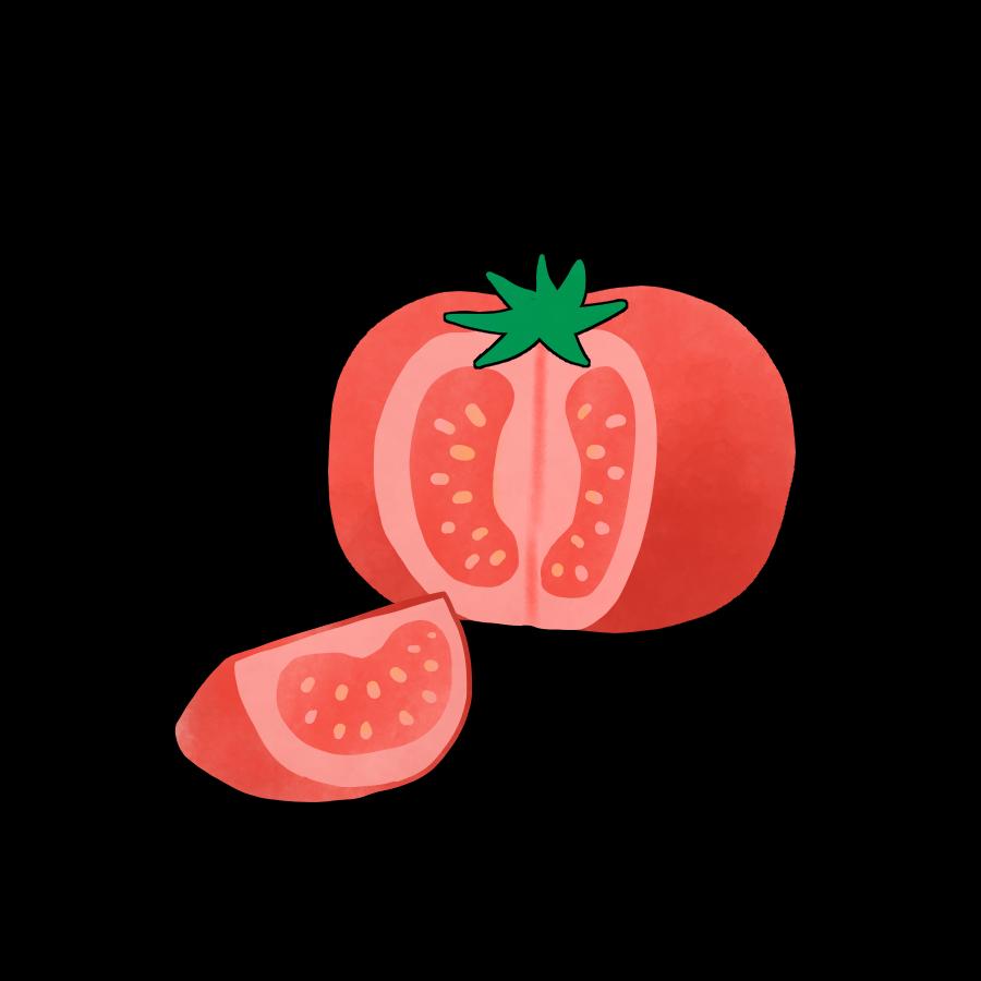 断面が見えるようにカットされたトマトのかわいいイラスト画像素材 無料 フリー