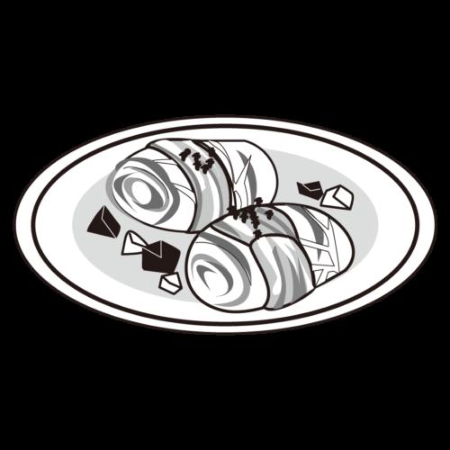 ロールキャベツ かわいい イラスト フリー 無料 白黒 モノクロ