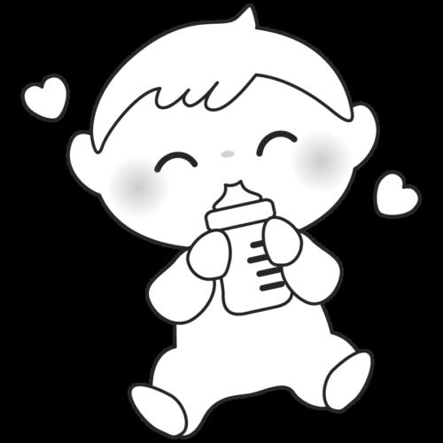 哺乳瓶 ミルク 赤ちゃん  かわいい イラスト フリー 無料 白黒 モノクロ