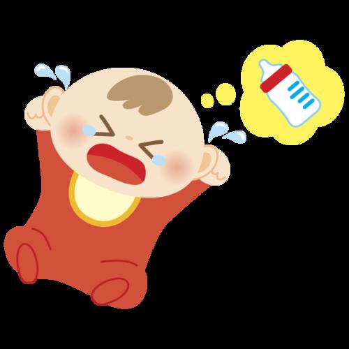 ミルク 赤ちゃん 泣く  かわいい イラスト フリー 無料