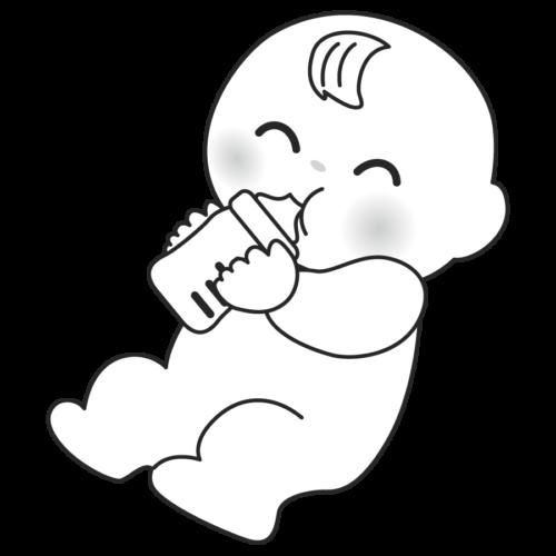 ミルク 赤ちゃん 飲む かわいい イラスト フリー 無料 白黒 モノクロ