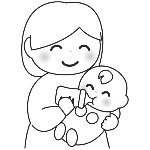 ミルク お母さん 赤ちゃん かわいい イラスト フリー 無料 白黒 モノクロ