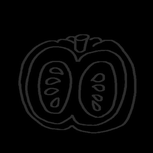 かぼちゃ カット イラスト フリー 無料 白黒 モノクロ