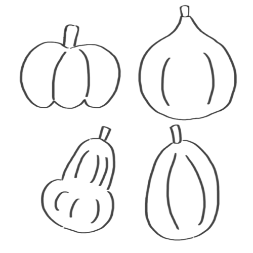 種類 かぼちゃ イラスト フリー 無料 白黒 モノクロ