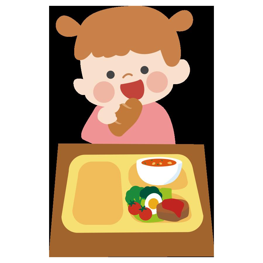 保育園で給食を食べている子供のかわいいイラスト画像素材 無料 フリー
