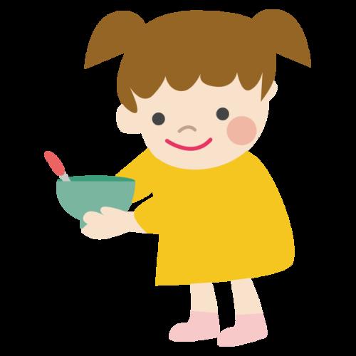 給食 食器 片付け 女の子 かわいい イラスト フリー 無料