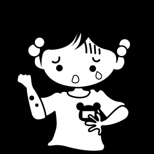 水いぼ かゆい 顔 子供 かわいい イラスト フリー 無料 白黒 モノクロ