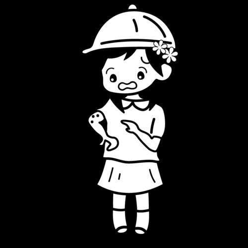 赤い 水いぼ 病気 女の子 かわいい イラスト フリー 無料 白黒 モノクロ